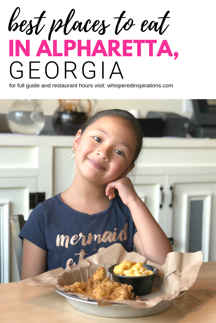 "A banner that reads ""best places to eat in Alpharetta, Georgia, for full guide and restaurant hours visit: whisperedinspirations.com"" with a picture of a little girl eating BBQ."