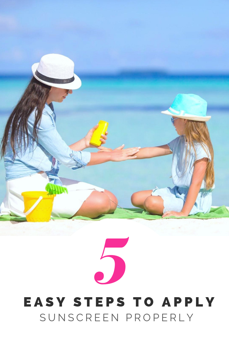 A woman and a young girl sit on the beach applying sunscreen. A banner reads below them, '5 easy steps to apply sunscreen properly.'