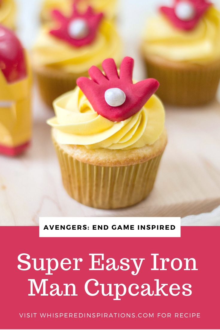 A close up of Marvel Avengers Iron Man cupcakes and a banner underneath that reads 'Super Easy Iron Man Cupcakes""