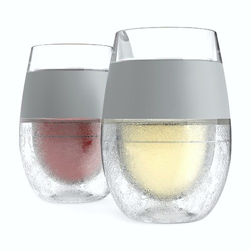 Frosted wine glasses that are clear with a sillver streak. Two cups are shown with red and white wine.