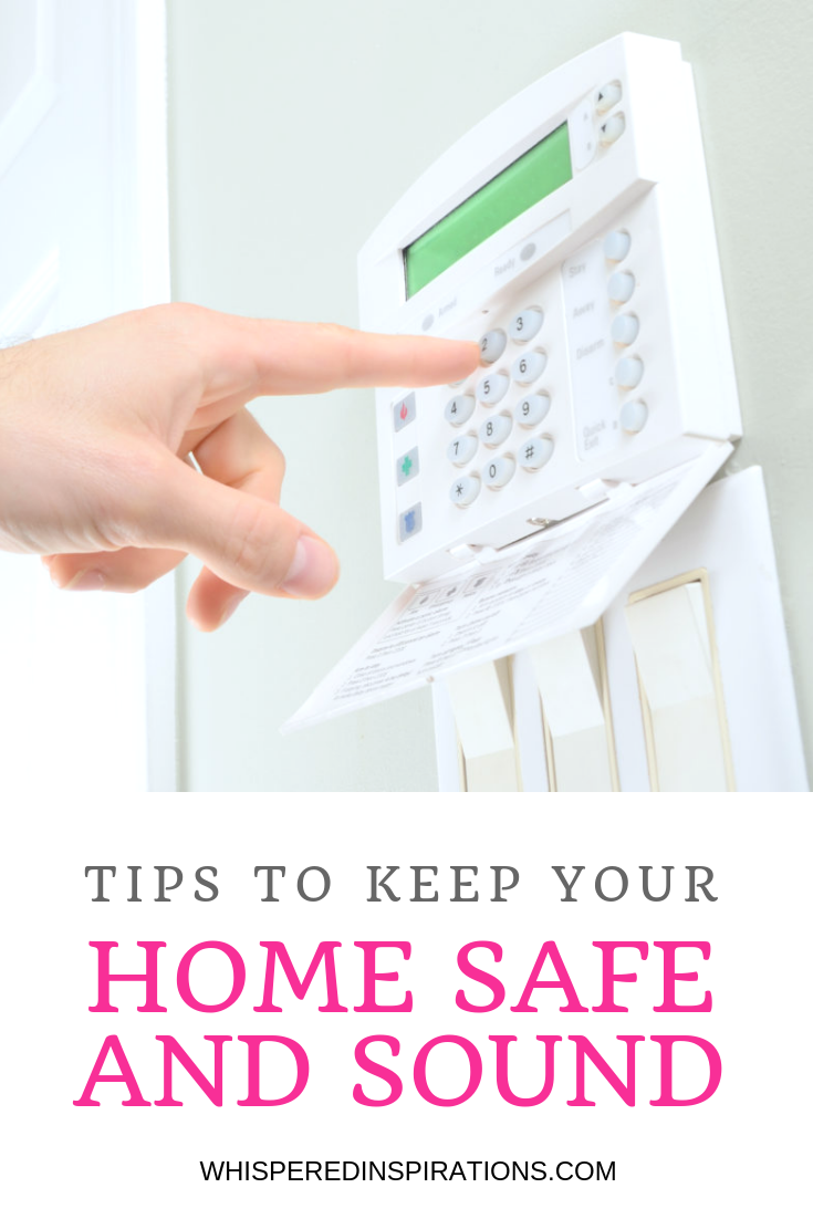 """A man is shown activating his security system and underneath a banner reads, """"Tips to Keep Your Home Safe and Sound""""."""