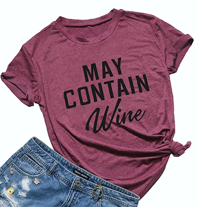 May Contain Wine t-shirt is pictured with denim shorts.