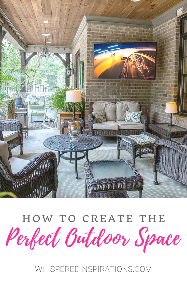 "An outdoor patio with a big screen, nice furniture and more, a banner reads, ""how to create the perfect outdoor space."""