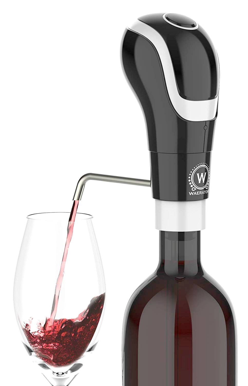 A wine bottle is shown pouring wine into a glass with an aerator.