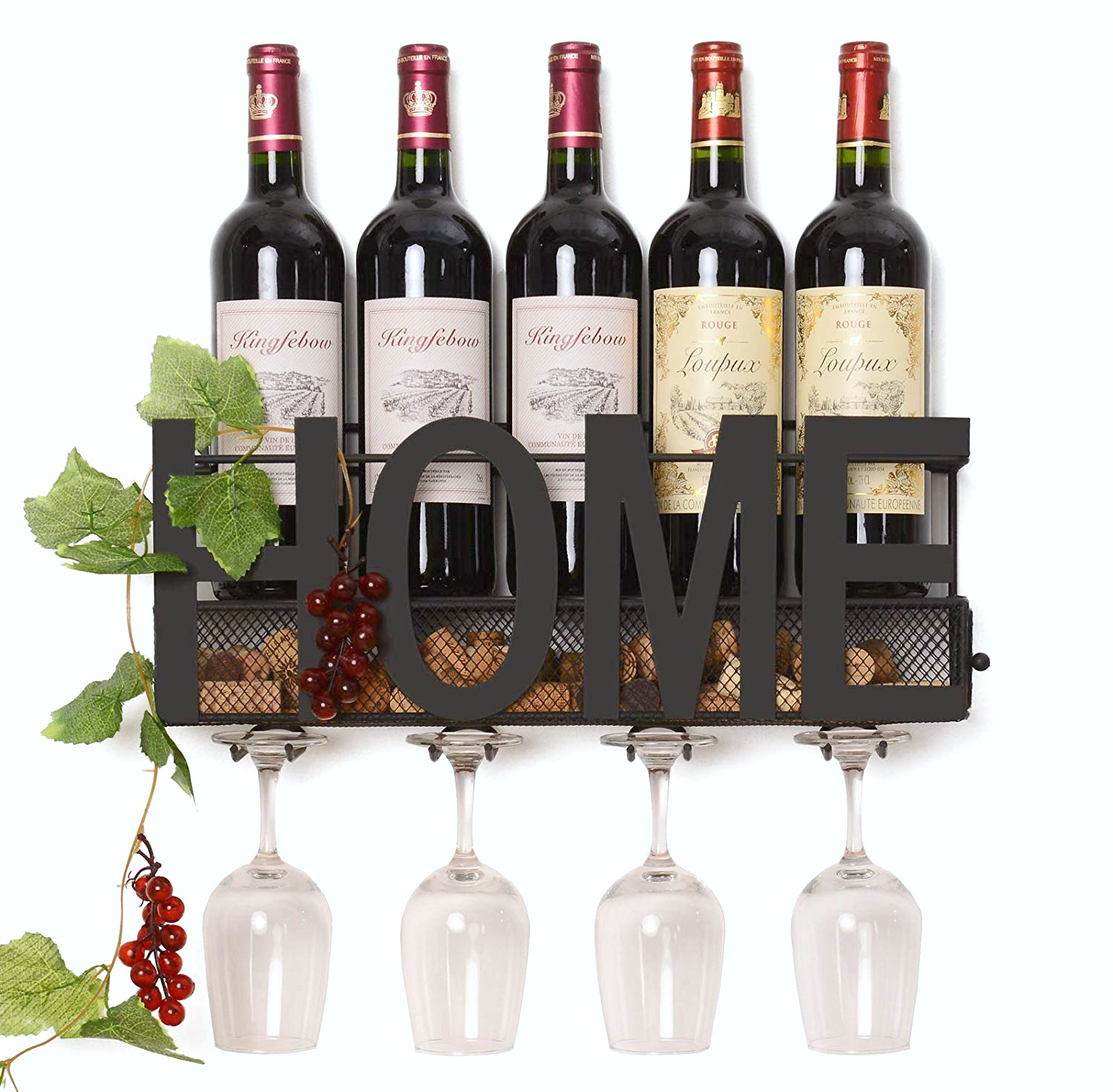 Home wine rack for the wine lover, with 4 bottles and 4 glasses hanging.