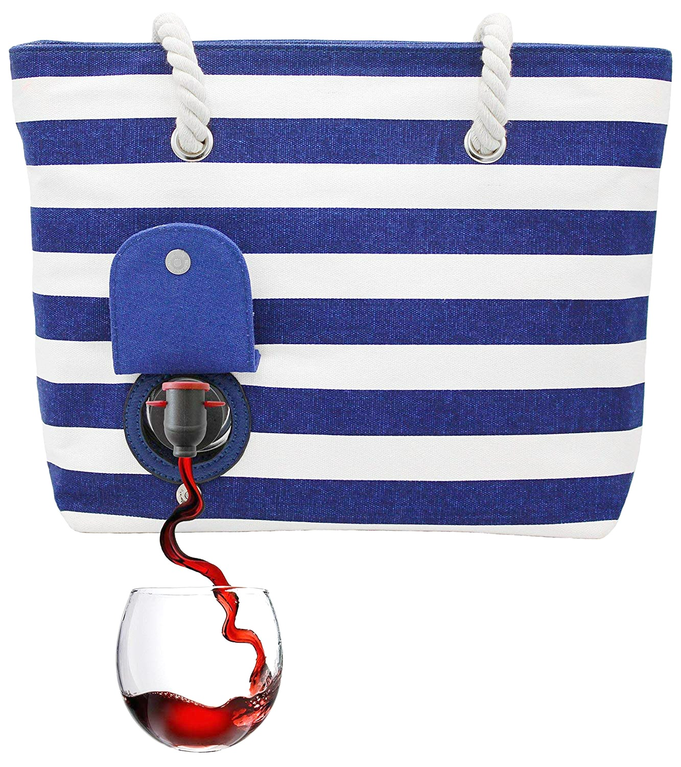 A nautical looking tote bag conceals a wine bag inside that can be served right from the bag.
