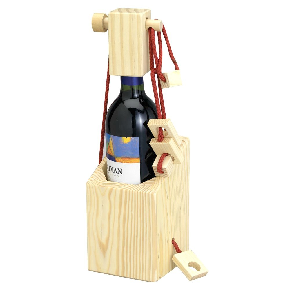 A fun wine holder that is a puzzle to open before you enjoy it.