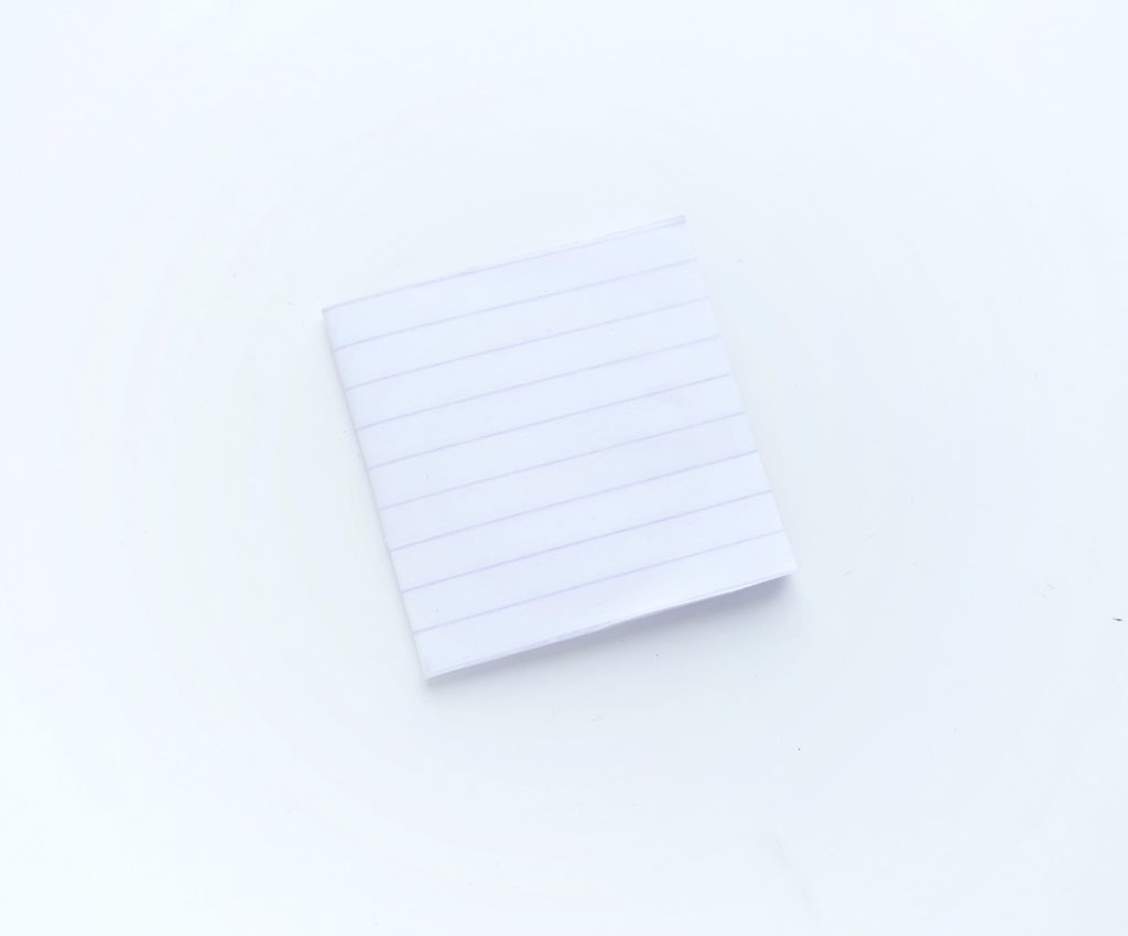 Pieces of lined paper folded into a mini notebook.
