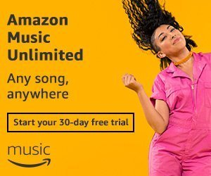 A woman in a pink jumpsuit dances and her hair flows in the wind. Next to her reads Amazon Music Unlimited, try for free.