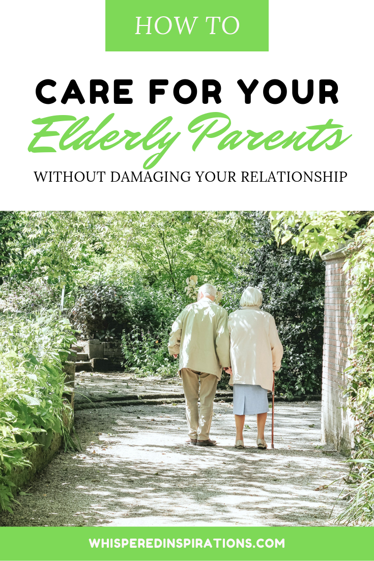 "A banner reads, ""how to care for your elderly parents without damaging your relationship,"" and a picture of an elderly couple walking on a nature path are shown."