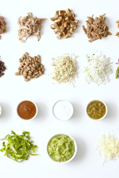 Chipotle Mexican Grill ingredients, birds eye view.