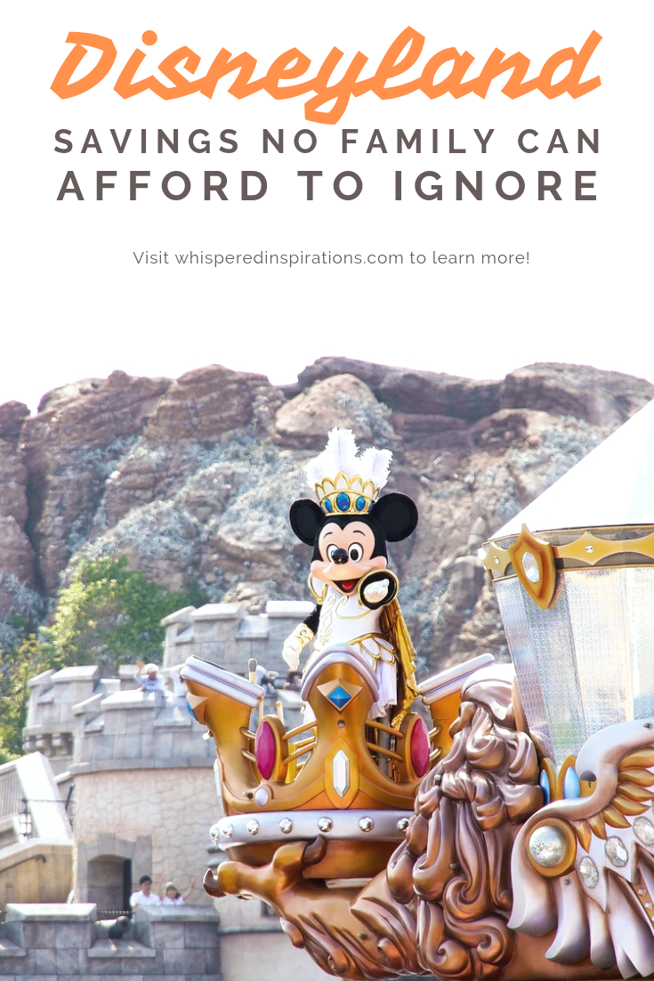"A banner reads, ""Disneyland savings no family can afford to ignore,"" Minnie Mouse is on a float at Disneyland picture is shown."