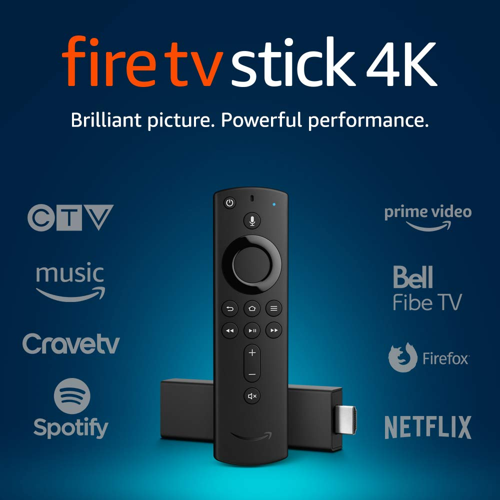 A Fire TV Stick in 4K with Alexa remote.