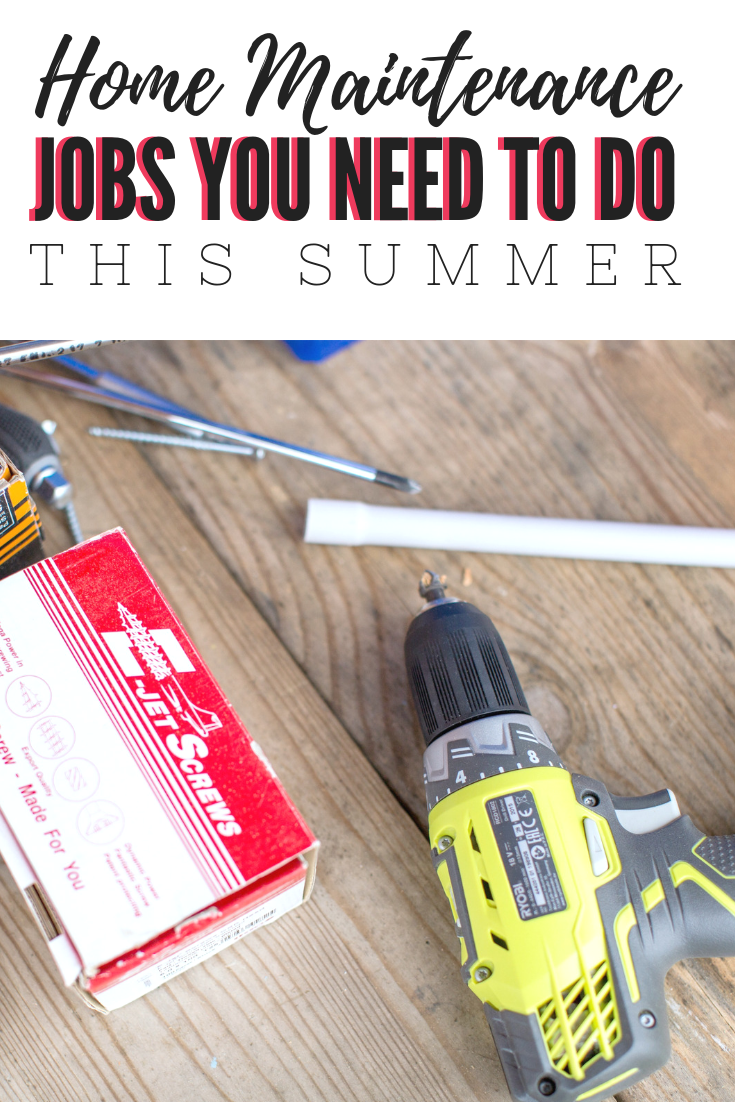 "A banner reads, 'Home Maintenance Jobs You Need to Do This Summer,"" below it is a picture of nails, screws, screwdrivers, and a drill gun."