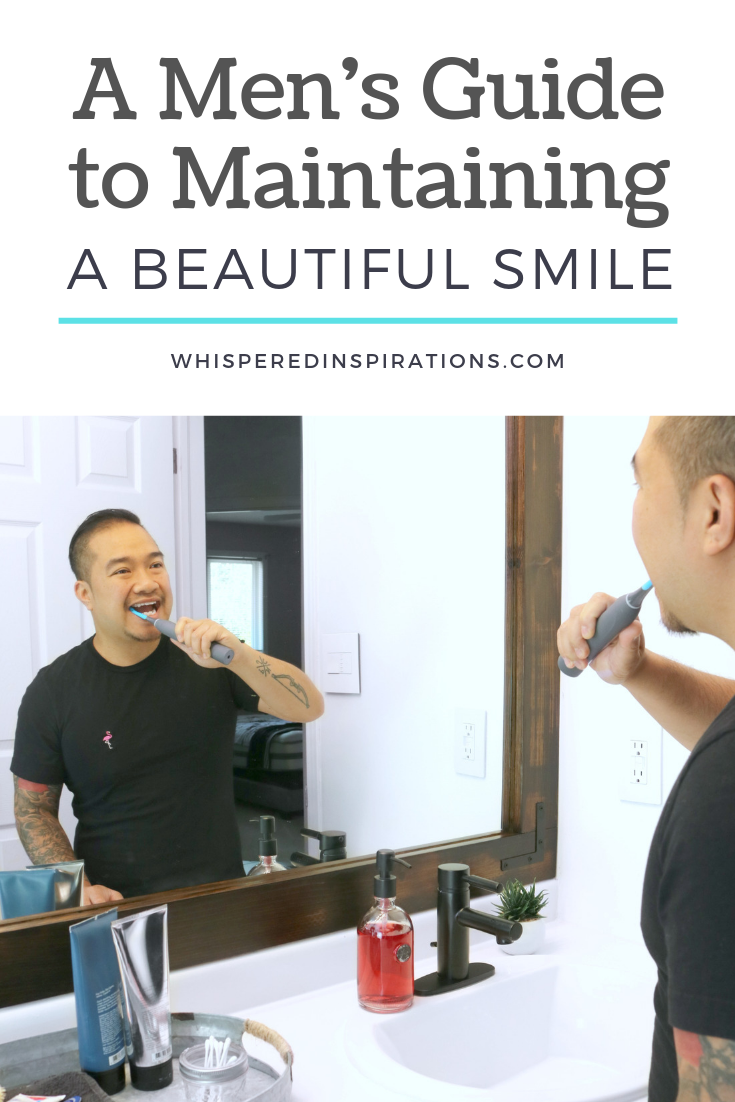 "A banner reads, ""A Men's Guide to Maintaining a Beautiful Smile"" and a man brushes his teeth in the mirror with a cariPRO."
