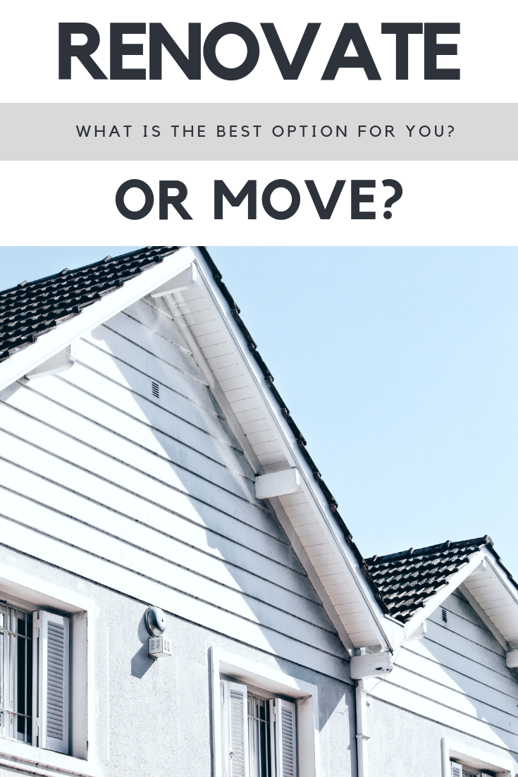 "A banner reads, ""Renovate or Move? What's the best decision for you?"" A picture of two roof peaks of a beautiful home is shown."