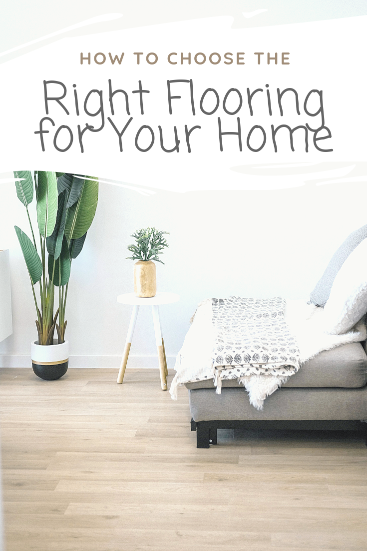 "A banner reads, ""how to choose the right flooring for your home,"" on top of an image of A modern living room with hardwood floors. Plants are shown."