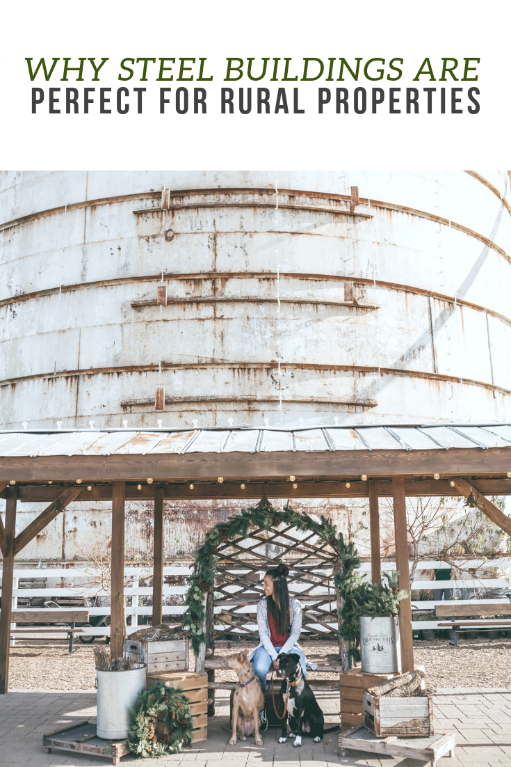 "A banner reads, ""Why Steel Buildings are Perfect for Rural Properties,"" a girl sits with a silo behind her while she sells wreaths and greenery."