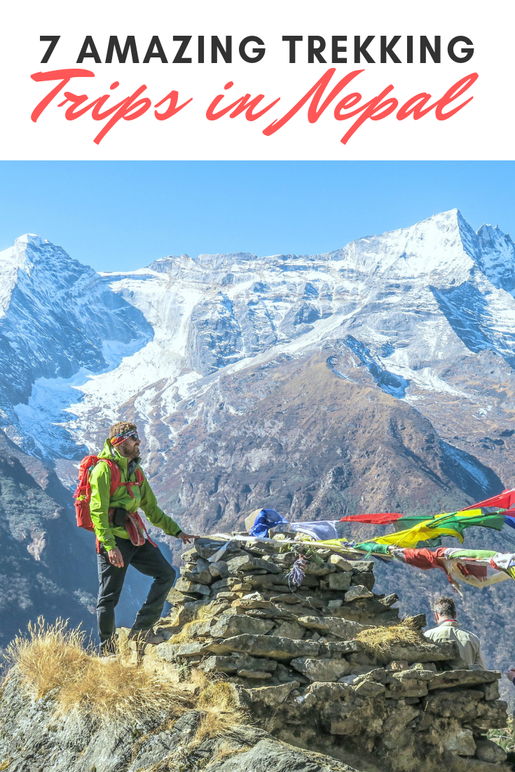 "A banner reads, ""7 amazing trekking trips in Nepal,"" A picture of people trekking in Nepal, stop at a plain and admire the view is shown."