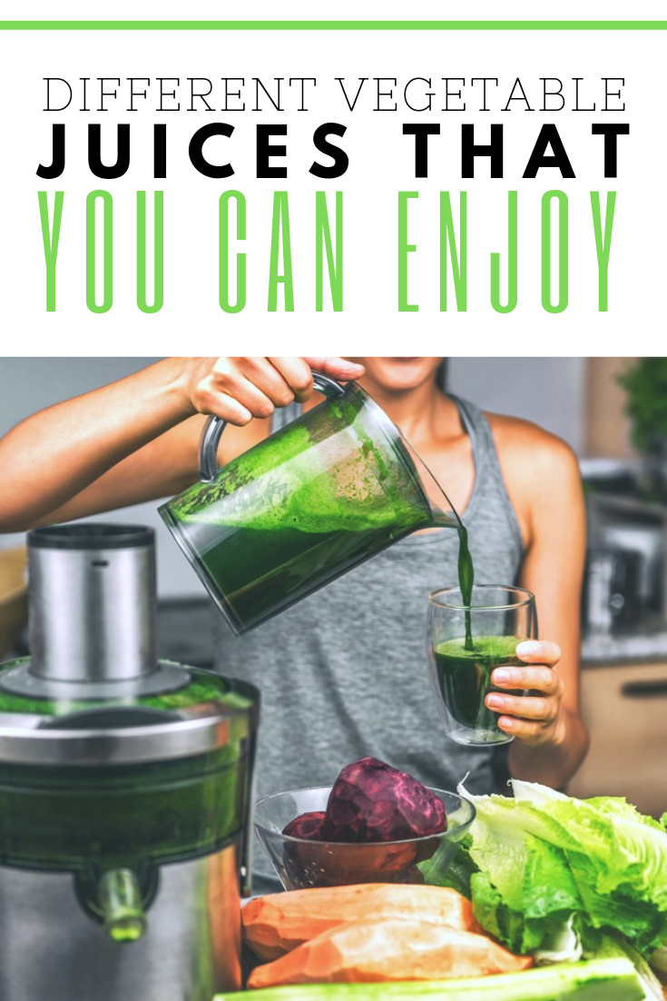 """A banner reads, """"Different Vegetable Juices That You Can Enjoy,"""" and a picture of a woman pouring a glass of green juice is shown."""