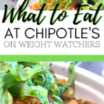 "A burrito bowl from Chipotles is pictured, a banner in between reads, ""What to Eat at Chipotle's on Weight Watchers"" and below is a picture of all the Chipotle's ingredients."
