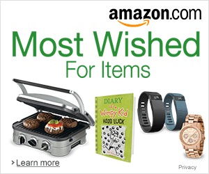 "A banner reads, ""amazon.com, Most Wished For Items"" with images of gifts."