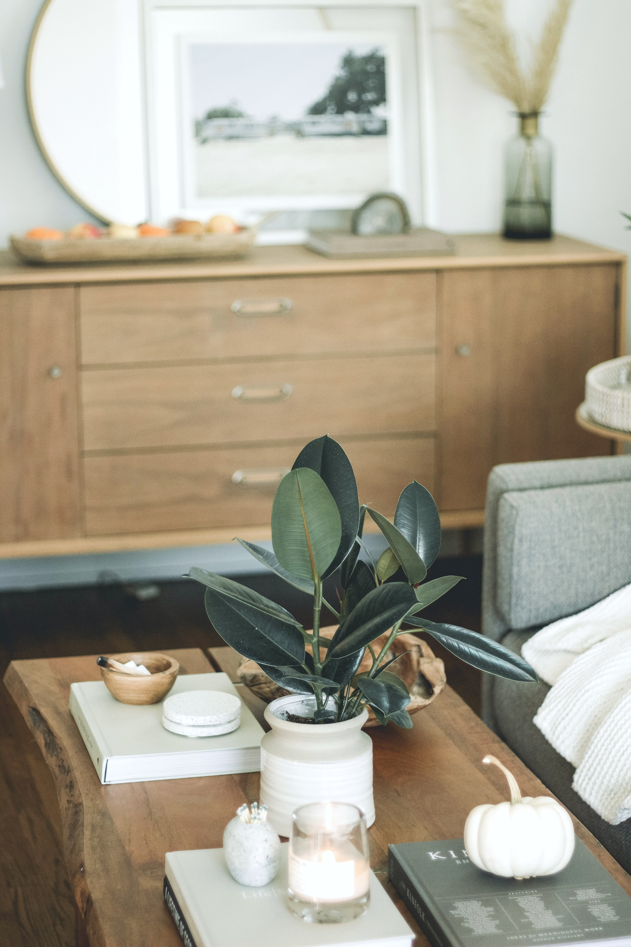 A neutral living with a coffee table neatly adorned.