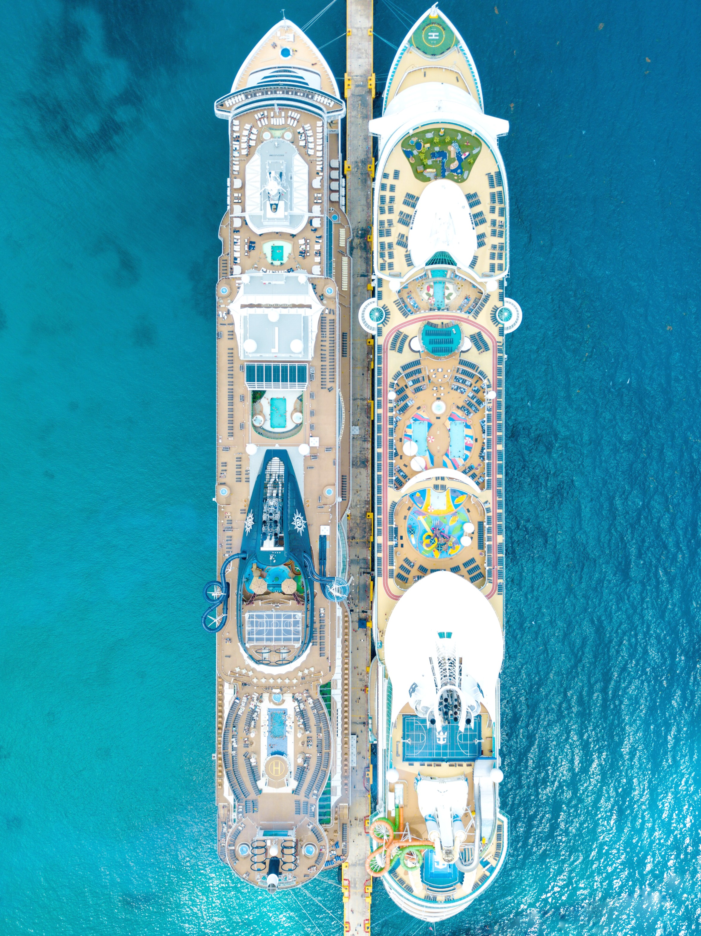 A bird's eye view of cruise ships at a port.