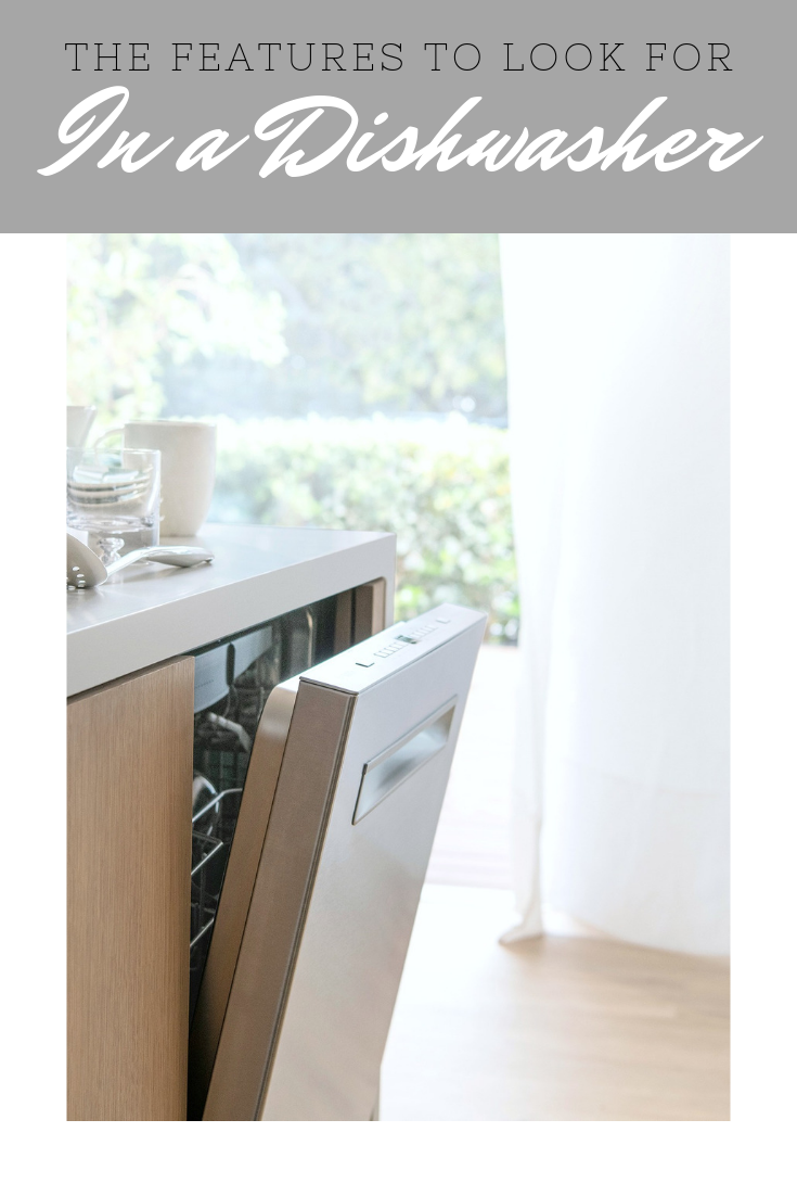 "A banner reads, ""The features to look for in a dishwasher,"" a picture of A beautiful neutral kitchen, showcasing a new Auto Air Bosch 500 Series is shown."