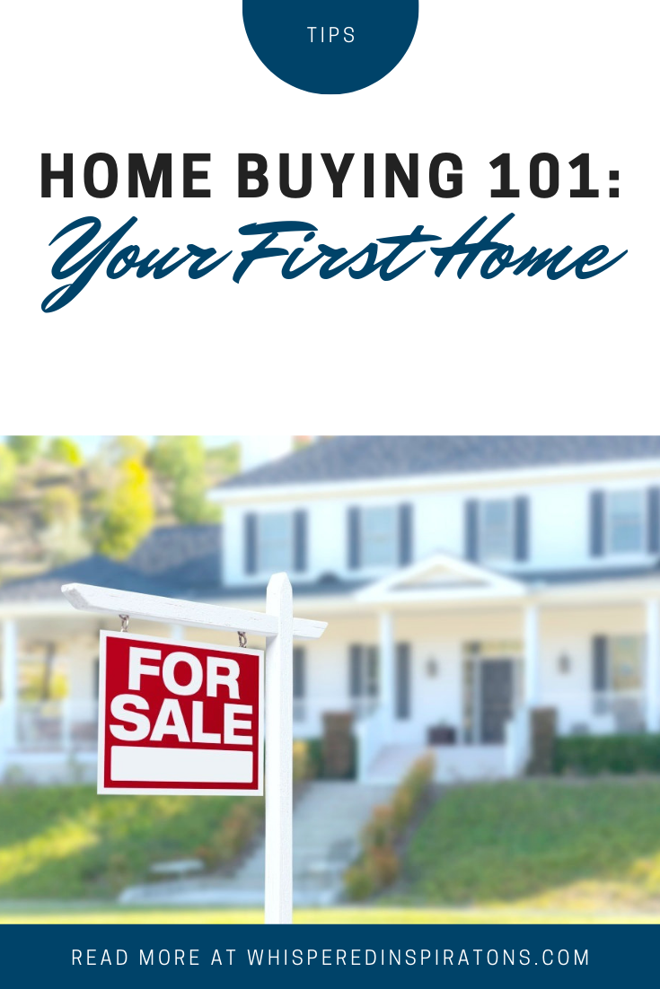 "A banner reads, ""Home Buying 101: Your First Home,"" A picture of A for sale sign is shown in front of a beautiful starter home, it is blurred in the background is shown."