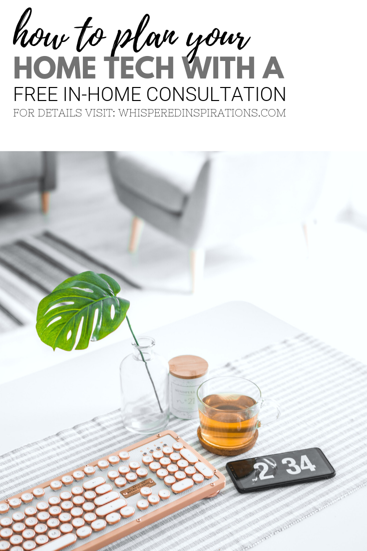 "A banner reads, ""how to plan your home with a free in-home consultation,"" a picture of A computer desk in a living room, with a keyboard, mobile phone, and a cup of tea."
