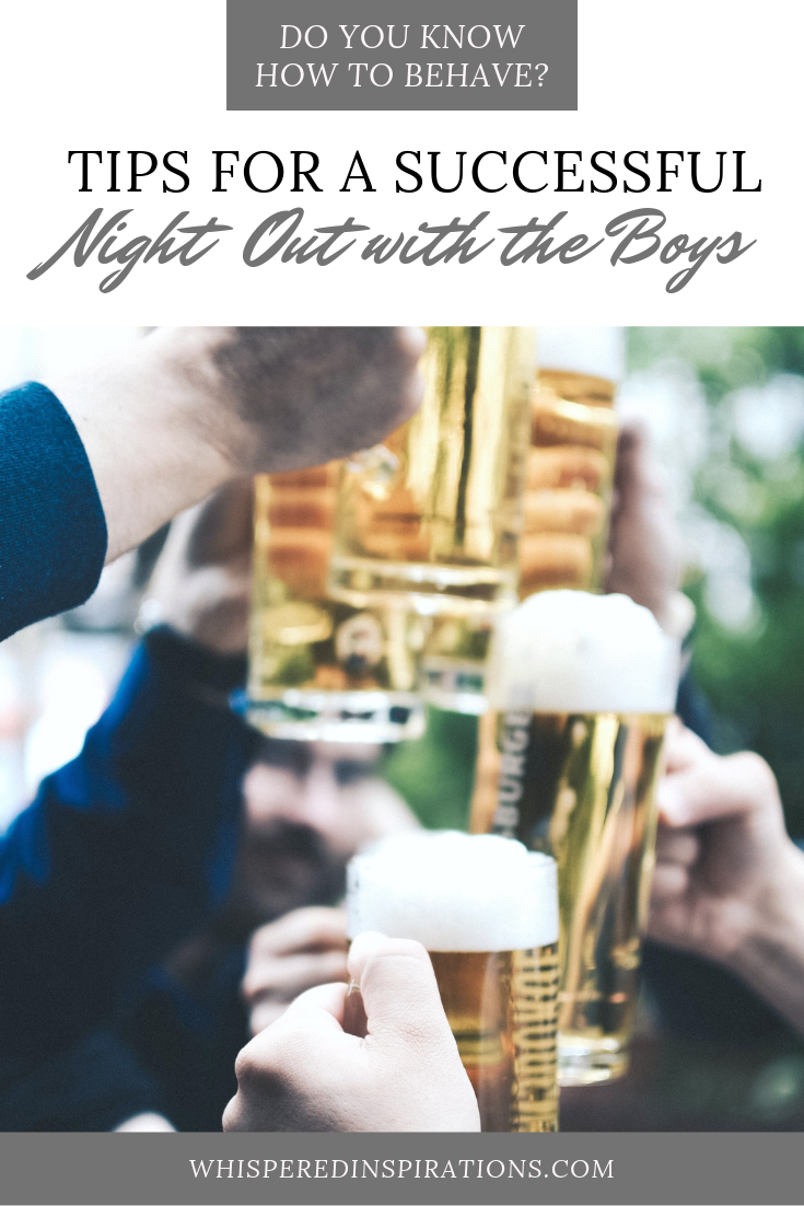 "A banner reads, ""Do you know how to behave? Tips on how to have a successful night out with the boys."" A picture of A group of men hold up pints of beer and cheer a good night out is shown."
