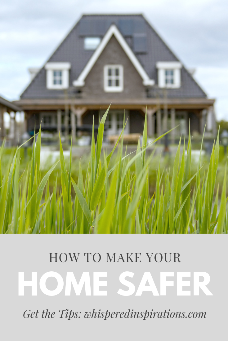 "Blades of grass are shown in focus, a large home looms in the background. A banner below reads, ""how to make your home safer."""