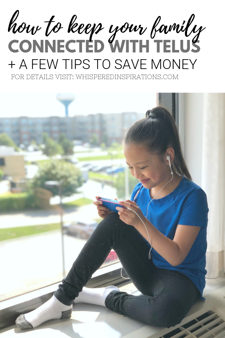 "A banner reads, ""How to keep your family connected with TELUS + tips that can save you money,"" a picture of a little girl sitting in a hotel and watching YouTube."