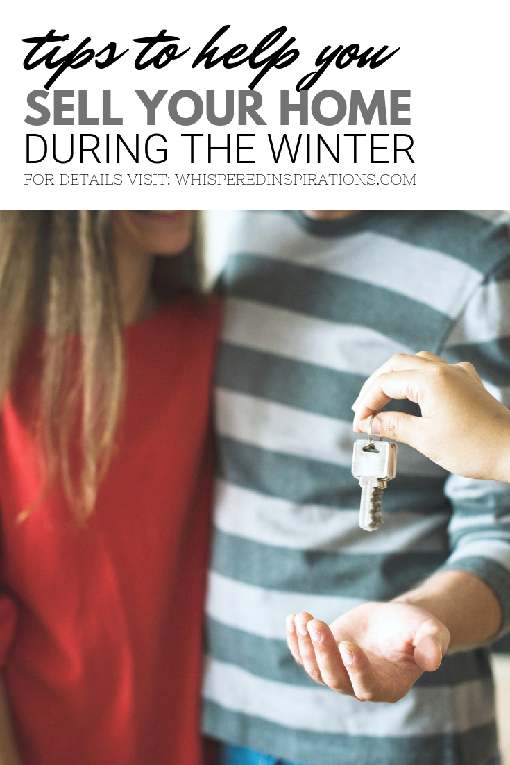 "A banner reads, ""tips to help you sell your home during the winter,"" a picture of A young couple are being sold a home, they are having the keys handed to them is shown."