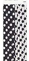 Black Polka Dot Paper Straws, 10ct