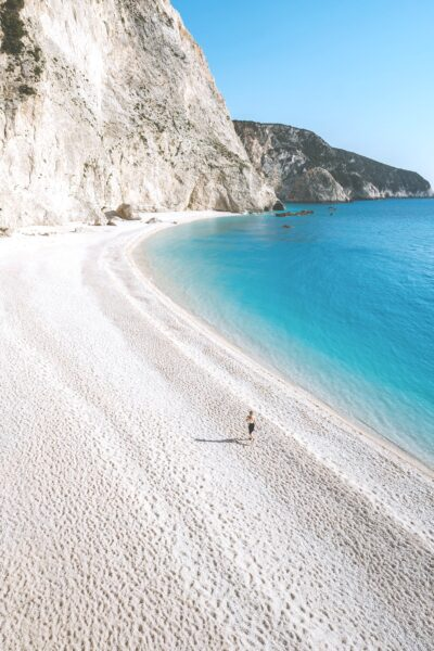 White sand beach in Greece, with turquoise waters.