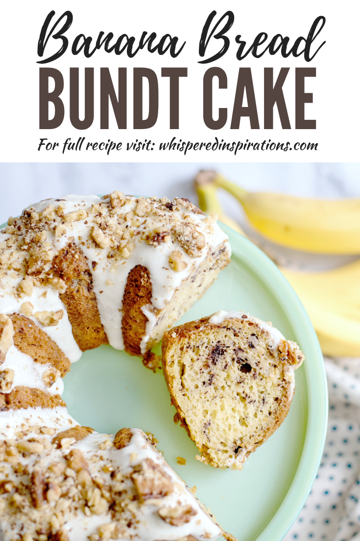 "A banner reads, ""Banana bread bundt cake,"" A green cake pedestal holds a banana bundt cake with cream cheese glaze and walnuts."