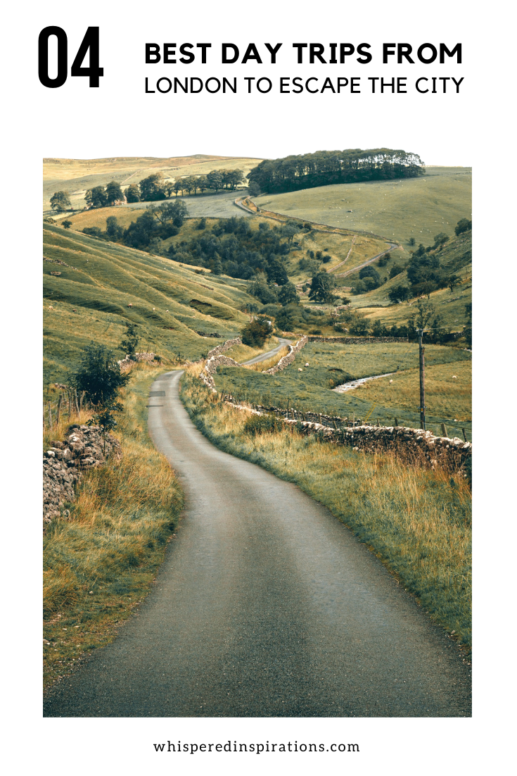 "A banner reads, ""4 best day trips from London to escape the city,"" A beautiful country road in rural London, England, outside of the city is shown."