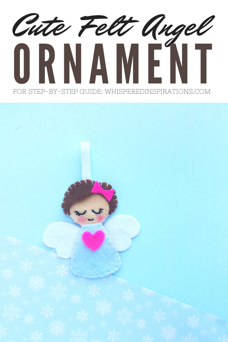 "A banner reads, ""Cute Felt Angel Ornament,' a picture of a felt angel ornament is pictured against a light blue background."