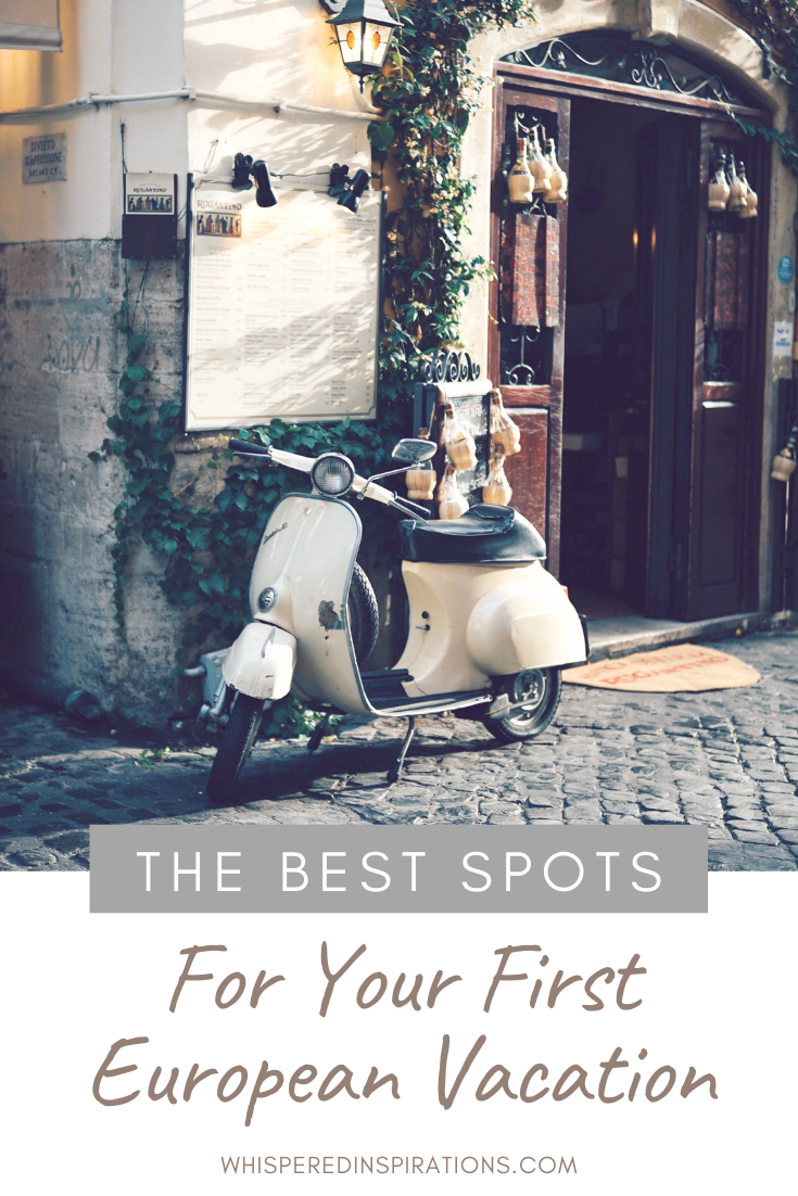 "A motorbike parked in front of a restaurant on a European street. A banner reads, ""the best spots for your first European vacation."""
