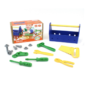A green child's toolbox kit that is free of BPA and safe for kids.