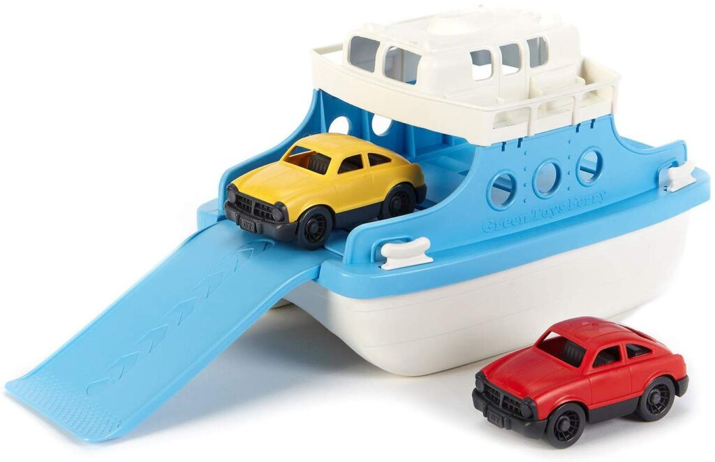 A super cute white and blue ferry that has two mini cars that go inside. It can float and be used in the bath tub during bath time.