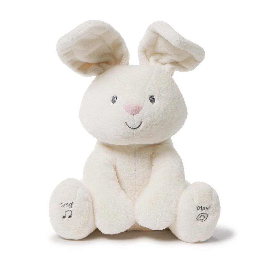 An adorable cream Gund bunny that interacts with your little ones.