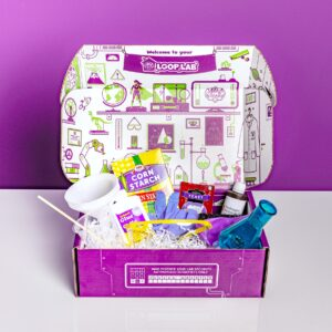 Loop Lab subscription box opened, showing all contents needed for an experiment for kids.