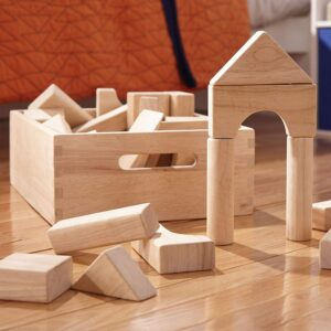 A wooden block set from Melissa and Doug.
