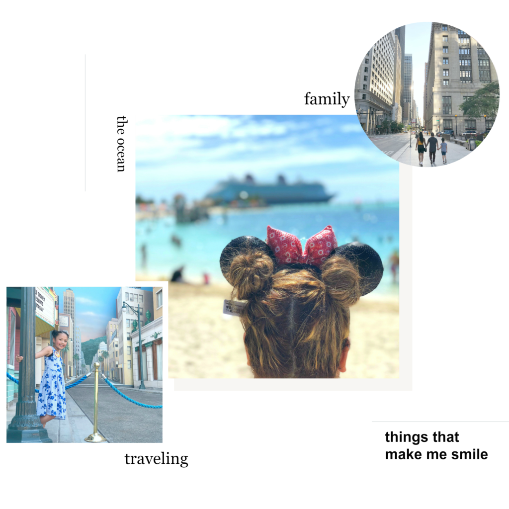 A collage on our, About Us page, that shows our love of travel, family, and more.