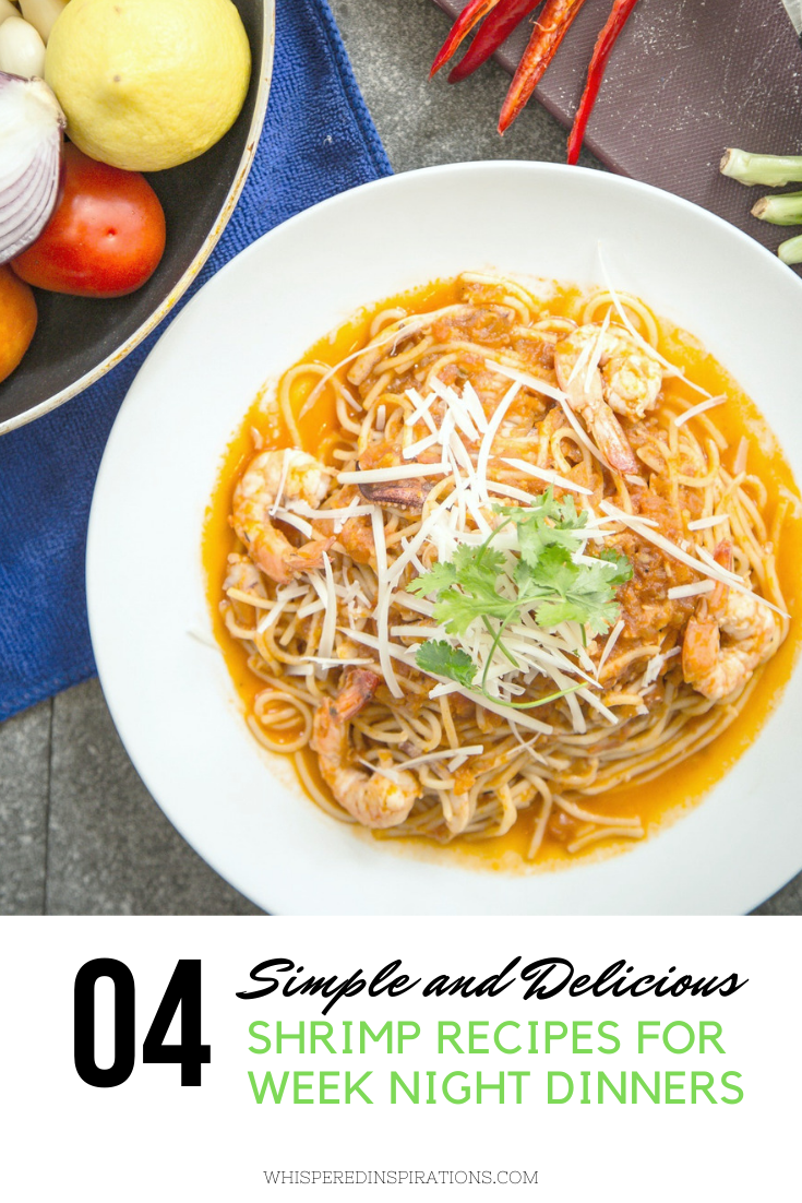 """Shrimp pasta dish surrounded by ingredients to create dish. A banner reads, """"4 shrimp recipes for week night dinners."""""""