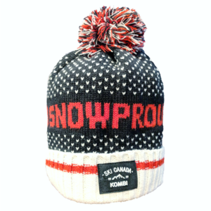 A toque adorned with a red, white, and blue pom pom, hearts, and the words SNOWPROUD written across it.