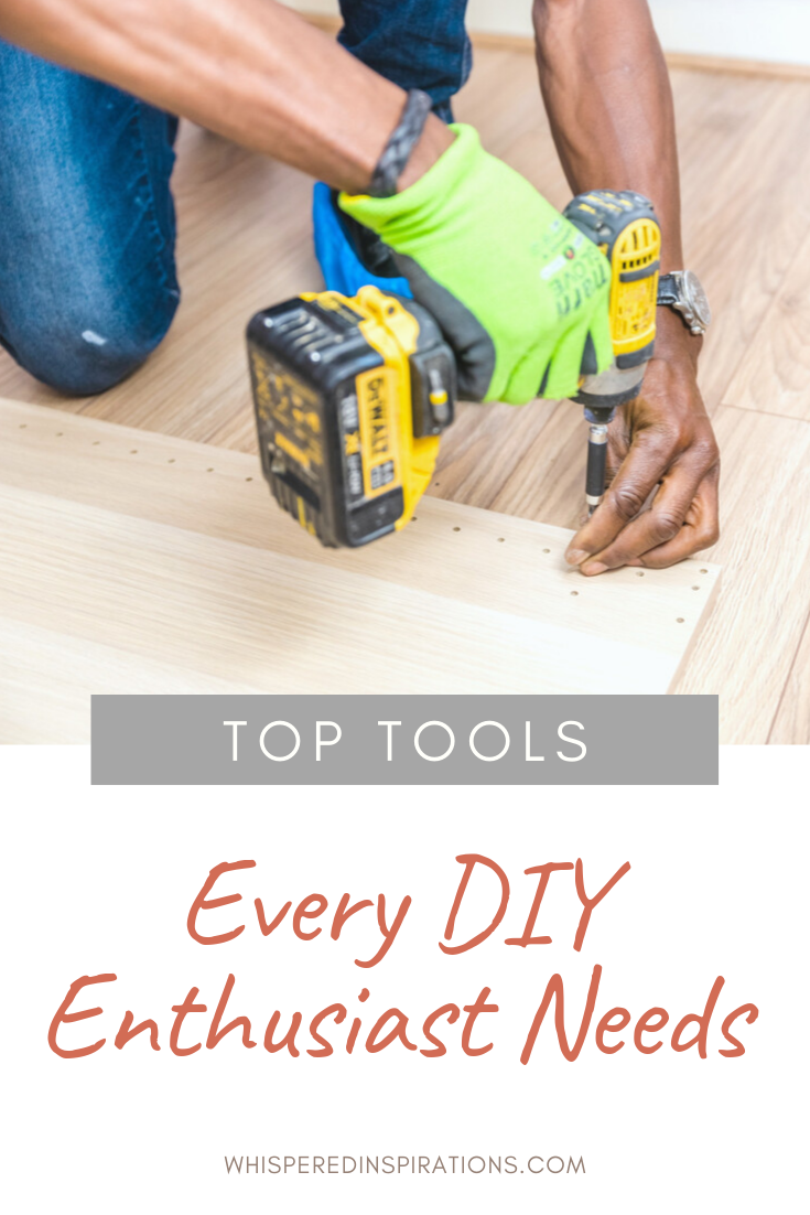 "A man drills wood planks into the floor. A banner reads, ""Top tools every DIY Enthusiast Needs."""